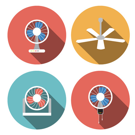 Set of fan icons in flat style, vector object, vector