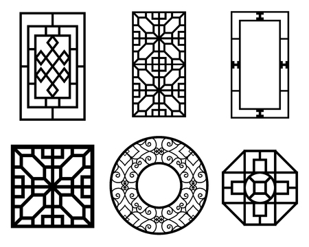 Set of Chinese window with pattern, vector ornament Çizim