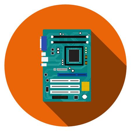 Placa base y el icono de la placa base en el estilo plano, vector Ilustración de vector