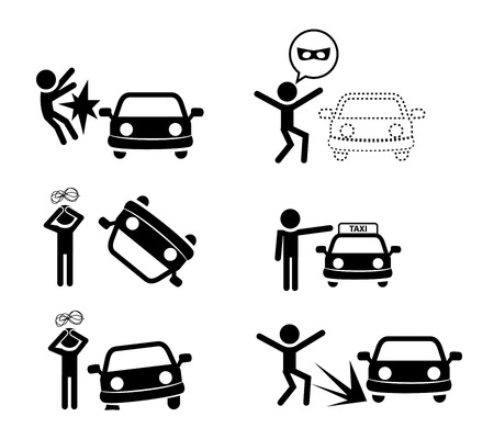 disappear: Set of car accident icon in silhouette style, vector