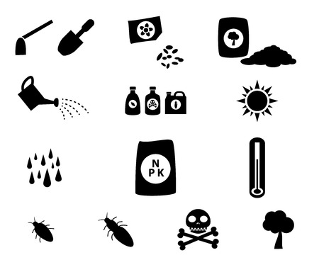 cultivation: Set of cultivation icons in silhouette style, vector symbol