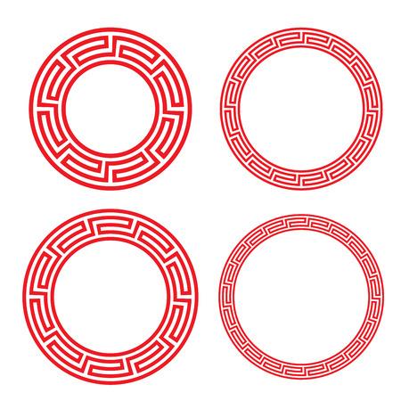 circulo de personas: Clásica china roja ventana circular y marco de fotos, vector
