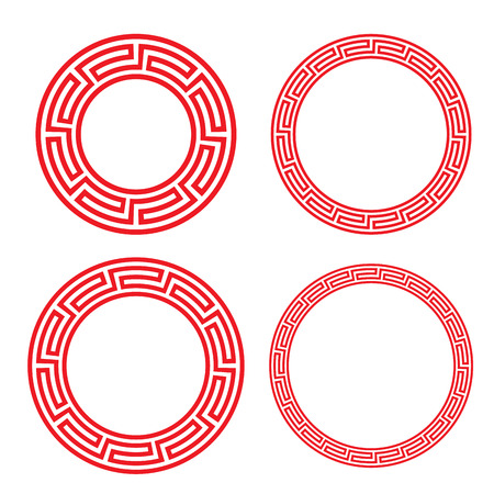 Classic Chinese red circle window and photo frame, vector Vettoriali
