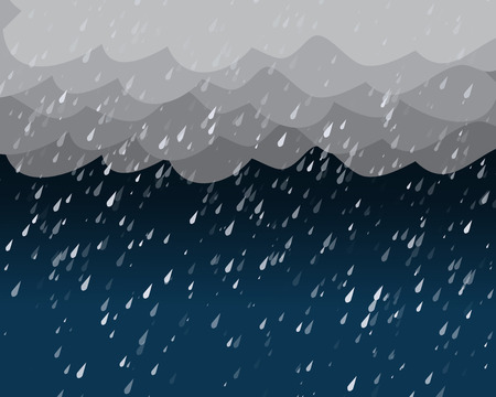 torrential rain: Heavy rain in dark sky, vector background Illustration