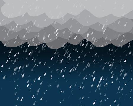 rainy season: Heavy rain in dark sky, vector background Illustration