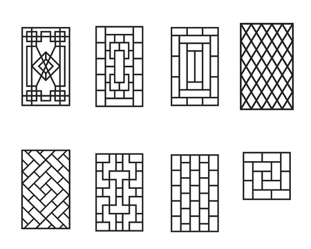 Set of Chinese pattern window frame, vector