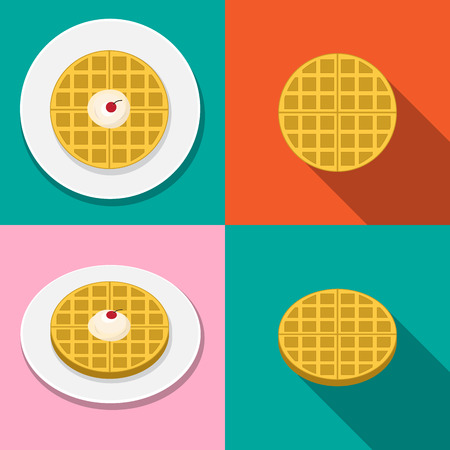 Waffle with ice cream on plate in flat style, vector