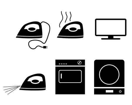 Electric stove, iron, incubators and TV icons, vector