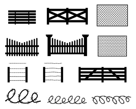 ligneous: Set of rural fences in silhouette style, vector