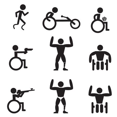 ハンディ キャップ スポーツ アイコン、ランナー、ボディービル、撮影、ラグビー、レースを無効にします。