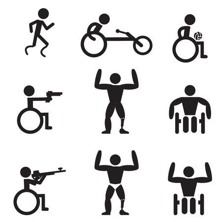 Disable Handicap Sport icons, runner, bodybuilding, shooting, rugby and racing