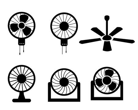 electric fan: Set of fan icons in silhouette style, vector object