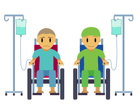 Cancer patient on wheelchair with sad, happy face, vector