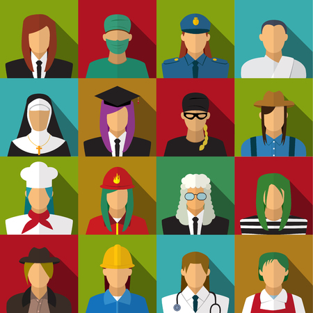 female prisoner: Set of 16 woman job icons in flat with long shadow, vector Illustration