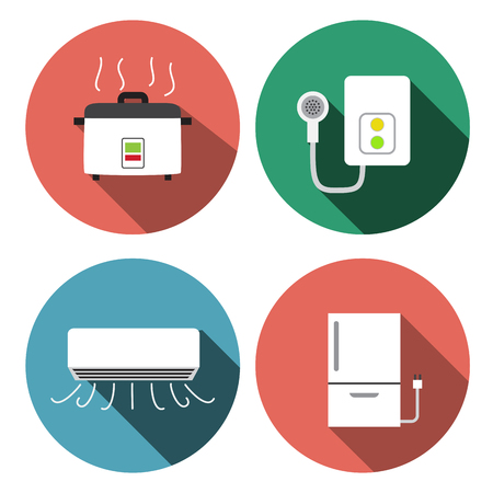 water heater: Water heater, air conditioner, rice cooker icons, vector