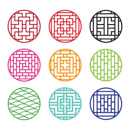 Set runde chinesische Muster Fensterrahmen, Vektor