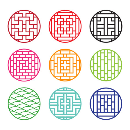 Set of round Chinese pattern window frame, vector