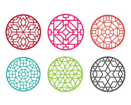 Modern round Chinese pattern window frame, vector  イラスト・ベクター素材
