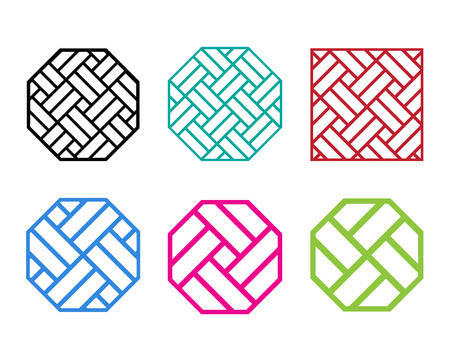 Ensemble de Octagon motif chinois cadre de la fenêtre, vecteur