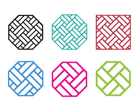 Set of Octagon Chinese pattern window frame, vector Stock Illustratie