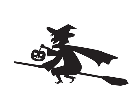 broomstick: Witch hold pumpkin lamp on a broomstick, vector Illustration