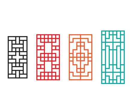 Rectangle Chinese window with pattern, vector