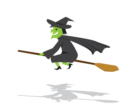 broomstick: Witch on a broomstick in flat cartoon style, vector