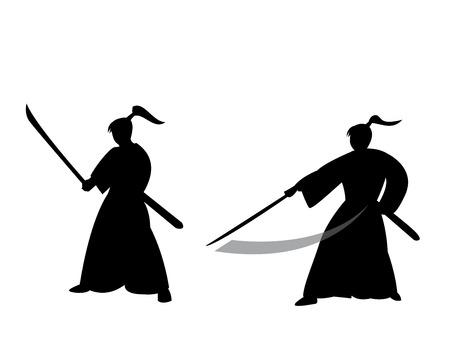 ronin: Samurai warrior in silhouette style, vector Illustration