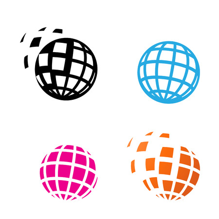 Digital Globe Icon in silhouette style, vector