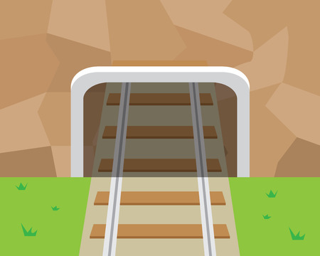 Mountain Tunnel and railroad in flat style, vector Иллюстрация