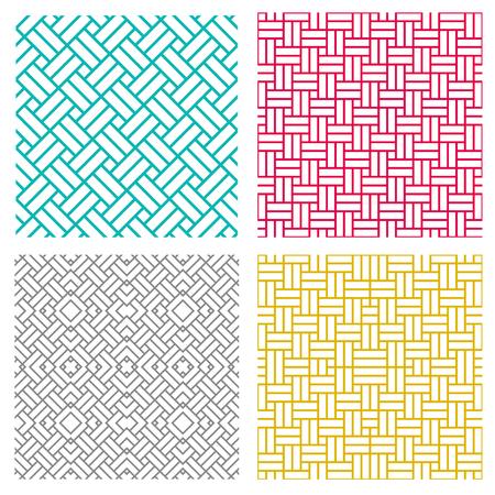 Geometric seamless weave line pattern in korean style, vector