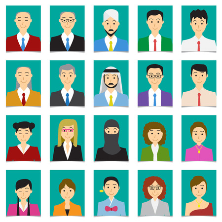 Half body shot People in flat style with green background, vector