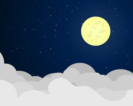 Cloudscape at night with full moon, vector