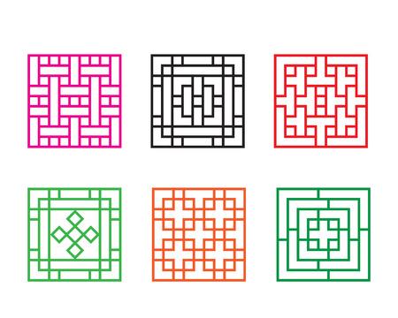 Set van de Chinese patroon venster in vierkante concept, vector