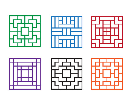 show window: Modern Chinese pattern window in square concept, vector Illustration