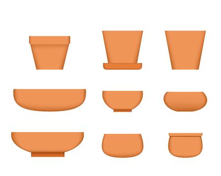 Bonsai tree pot in realistic style, Clay plant pot, vector