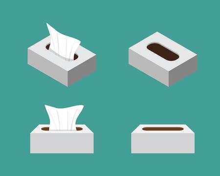 utiles de aseo personal: Iconos de la caja del tejido en el diseño de estilo plano