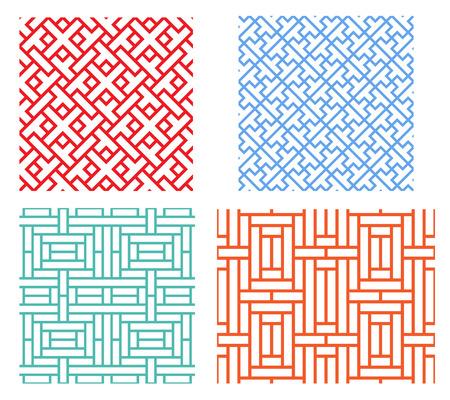 현대 아시아 스타일의 원활한 복고풍 기하학적 퍼즐 패턴