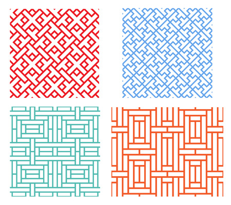 Seamless retro geometric puzzle pattern in modern asian style