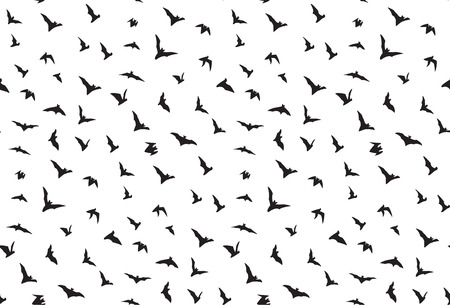 flying bats: Isolated seamless flying bats pattern on white background