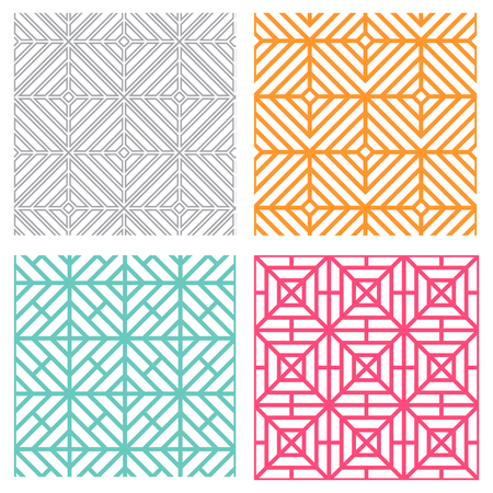 Seamless geometric line pattern in korean style Illustration