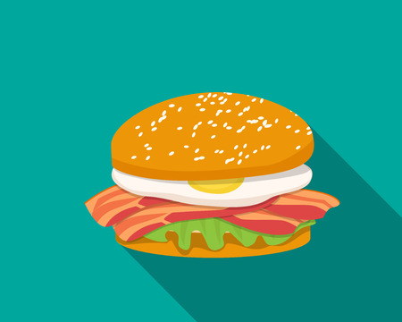egg roll: Bacon sandwich with egg in flat style