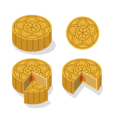 Chinese Moon cake with floral pattern design 矢量图像