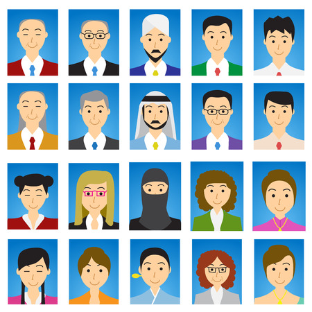 Close up Headshot People in flat style with blue gradient background Illustration