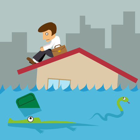 house flood: Business man on roof house, Flood city background