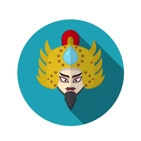 Chinese opera icon, warrior and knight symbol