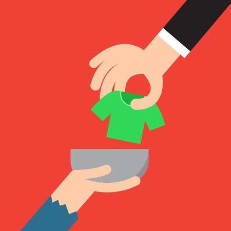 hombre pobre: Donation concept. Hand putting cloth to poor man
