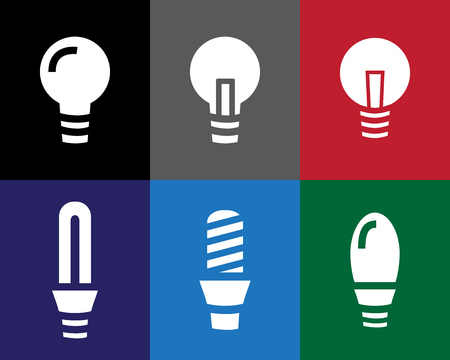 Set of Light bulb icon in stencil style