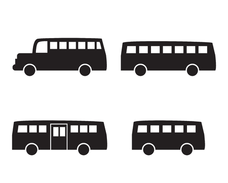 schoolbus: Set of big bus icons in simple silhouette style