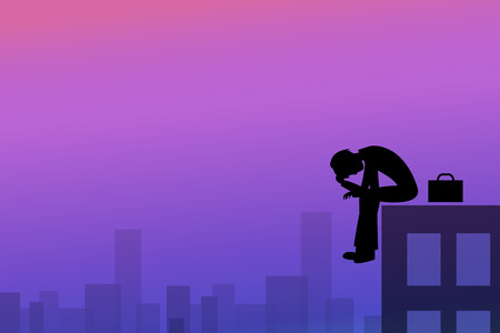 Depression background in silhouette style